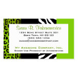 Lime Green & Black Animal Print Zebra and Leopard Pack Of Standard Business Cards