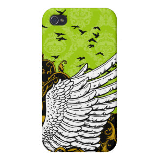 Lime Green & Black Bird Wing Damask iPhone 4 Case
