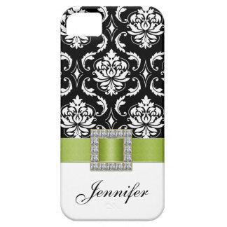 Lime Green Black Damask iPhone 5 Case