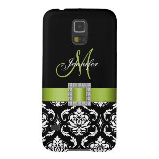 LIME GREEN, BLACK DAMASK MONOGRAM GALAXY S5 CASES