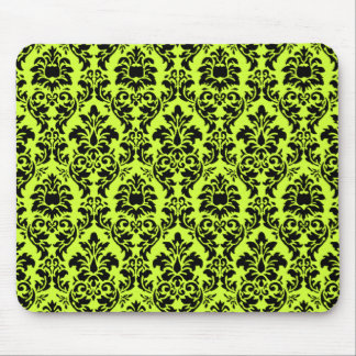 Lime Green & Black Damask Mouse Pad