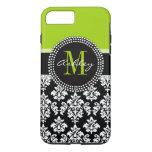 Lime Green Black Damask Pattern Monogrammed iPhone 7 Plus Case