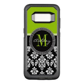 Lime Green Black Damask Pattern Monogrammed OtterBox Commuter Samsung Galaxy S8 Case