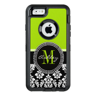Lime Green Black Damask Pattern Monogrammed OtterBox Defender iPhone Case