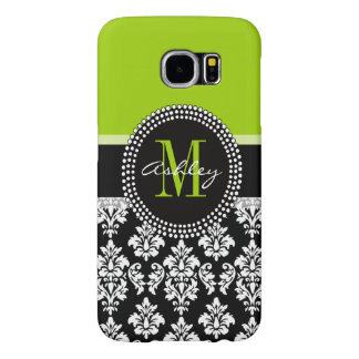 Lime Green Black Damask Pattern Monogrammed Samsung Galaxy S6 Cases