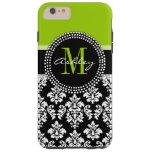 Lime Green Black Damask Pattern Monogrammed Tough iPhone 6 Plus Case