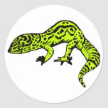 Lime Green & Black Gecko Classic Round Sticker