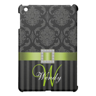 LIME GREEN, BLACK GREY DAMASK MONOGRAM CASE FOR THE iPad MINI