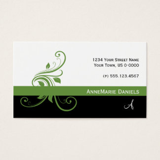 Lime Green Black Lime Green Floral Swirls Business Card