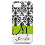 Lime Green Black White Floral Damask iPhone 5 Cases