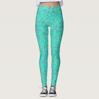 Lime Green Blue, and Red Graffiti Leggings