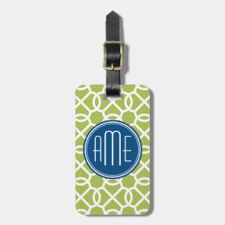 Lime Green & Blue Geometric Pattern Monograms Luggage Tag