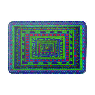 Lime Green Blue Red Aztec Tribal Squares Pattern Bath Mat