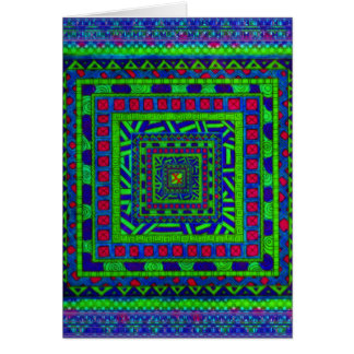 Lime Green Blue Red Aztec Tribal Squares Pattern Card