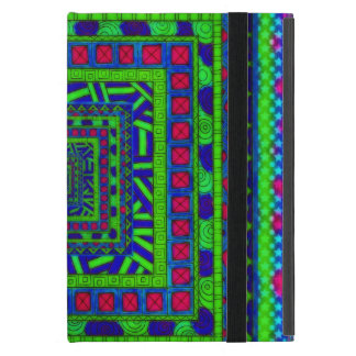Lime Green Blue Red Aztec Tribal Squares Pattern Case For iPad Mini