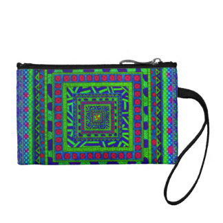 Lime Green Blue Red Aztec Tribal Squares Pattern Coin Purse