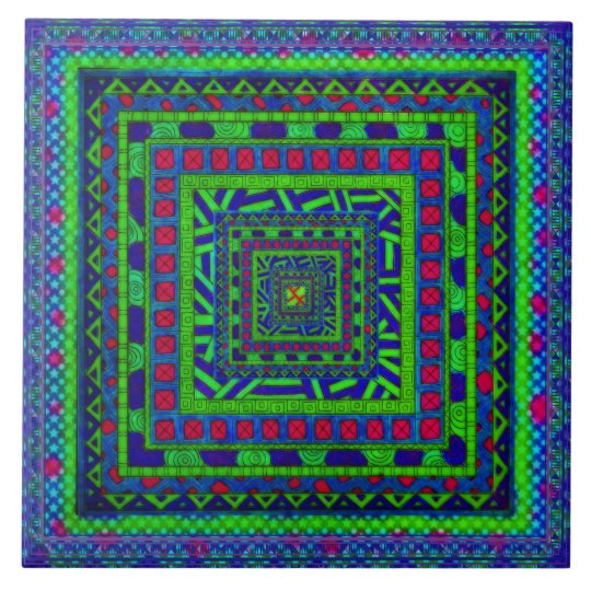 Lime Green Blue Red Aztec Tribal Squares Pattern