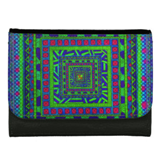 Lime Green Blue Red Aztec Tribal Squares Pattern Leather Wallet