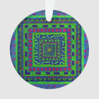 Lime Green Blue Red Aztec Tribal Squares Pattern Ornament