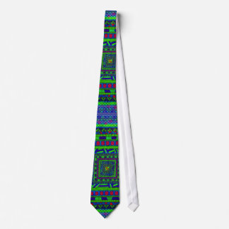 Lime Green Blue Red Aztec Tribal Squares Pattern Tie