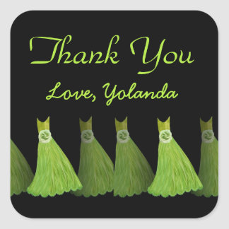 Lime Green Bridesmaids Thank You Bridal Shower A03 Square Sticker