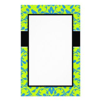 lime green bright blue bird damask pattern designs custom stationery