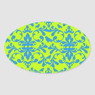 lime green bright blue bird damask pattern oval stickers