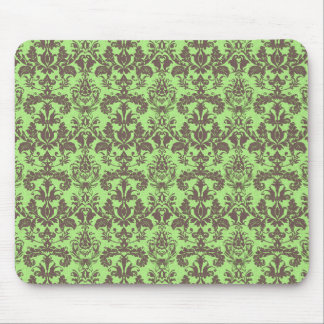 Lime Green & Brown Damask Mouse Pad