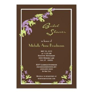 Lime Green Brown Fleur de Lis Modern Bridal Shower 13 Cm X 18 Cm Invitation Card