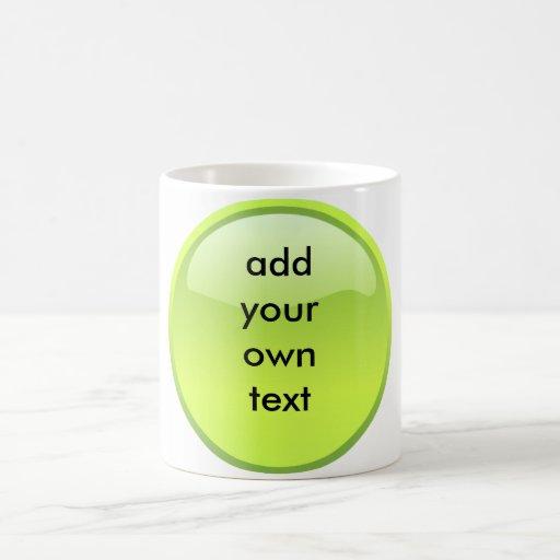 lime green button coffee mug
