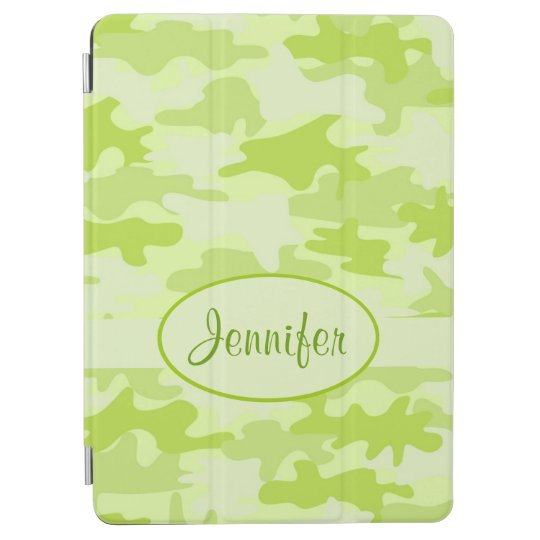 Lime Green Camo Camouflage Name Personalised iPad Air Cover