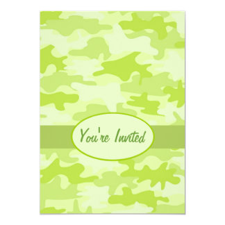 Lime Green Camo Camouflage Party Event 13 Cm X 18 Cm Invitation Card
