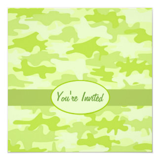 "Lime Green Camo Camouflage Party Event Square 5.25"" Square Invitation Card"