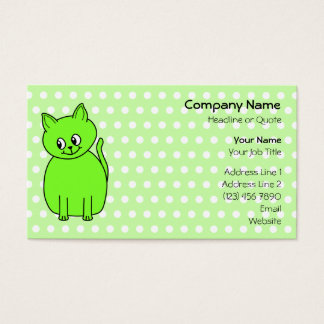 Lime Green Cat. Business Card