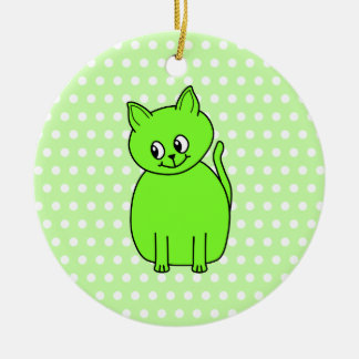 Lime Green Cat. Christmas Ornament