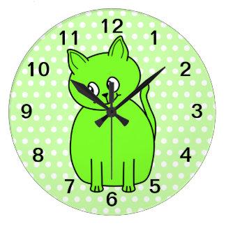 Lime Green Cat Round Wallclocks
