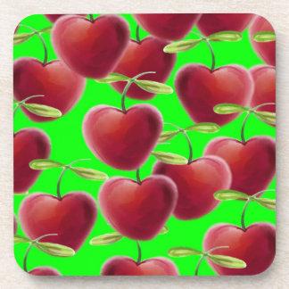 Lime Green Cherry Splash Coaster