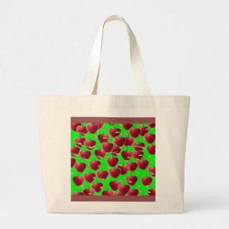 Lime Green Cherry Splash Large Tote Bag
