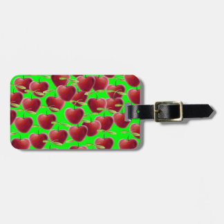 Lime Green Cherry Splash Luggage Tag