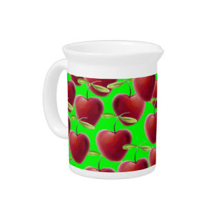 Lime Green Cherry Splash Pitcher