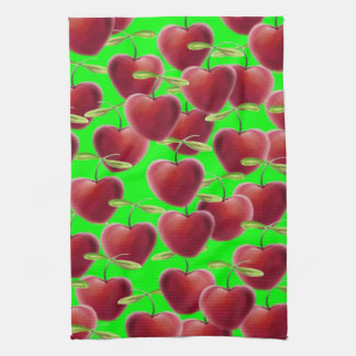 Lime Green Cherry Splash Tea Towel