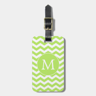 Lime Green Chevron Monogram Luggage Tag
