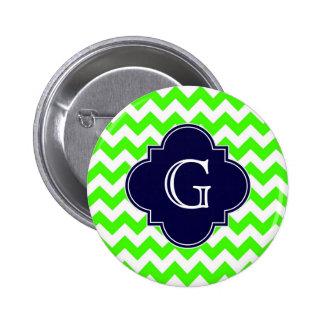 Lime Green Chevron Navy Blue Quatrefoil Monogram 6 Cm Round Badge