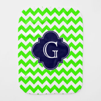 Lime Green Chevron Navy Blue Quatrefoil Monogram Burp Cloth