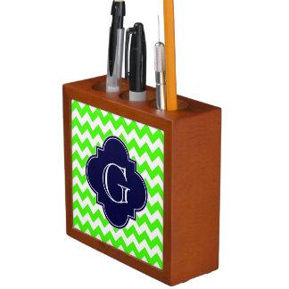 Lime Green Chevron Navy Blue Quatrefoil Monogram Desk Organiser