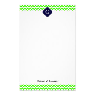 Lime Green Chevron Navy Blue Quatrefoil Monogram Stationery