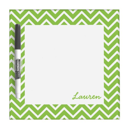 Lime Green Chevrons Dry Erase Board