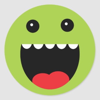 """Lime Green """"Chompy"""" Monster Face Classic Round Sticker"""