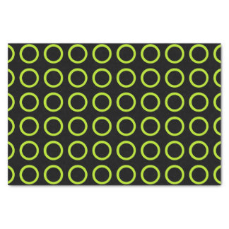 Lime Green Circles Black Tissue Paper