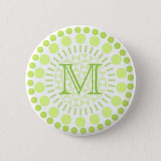 Lime green Circles Customisable Monogram Badge